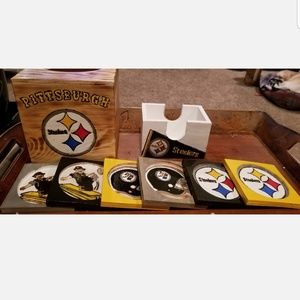 Customizable woodburned coasters and tissue box